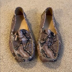 COLE HAAN Snake Print Leather Moccasins Loafers